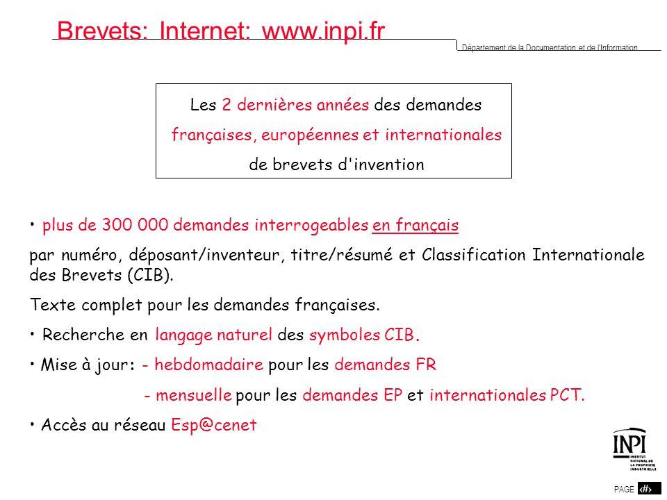 Brevets: Internet: www.inpi.fr