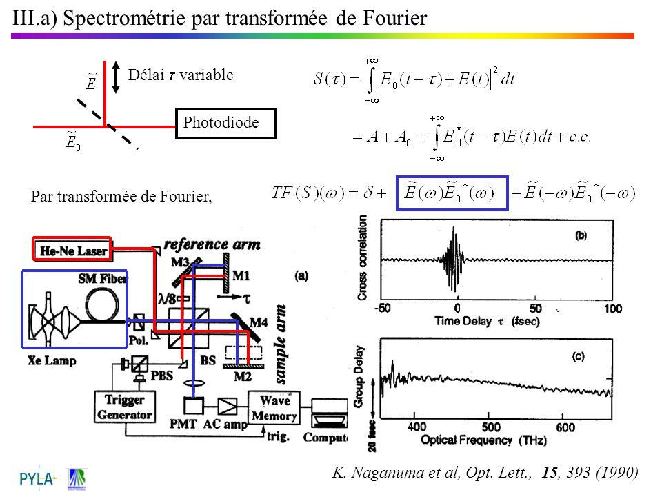 III.a) Spectrométrie par transformée de Fourier