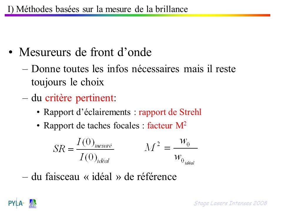 I) Méthodes basées sur la mesure de la brillance
