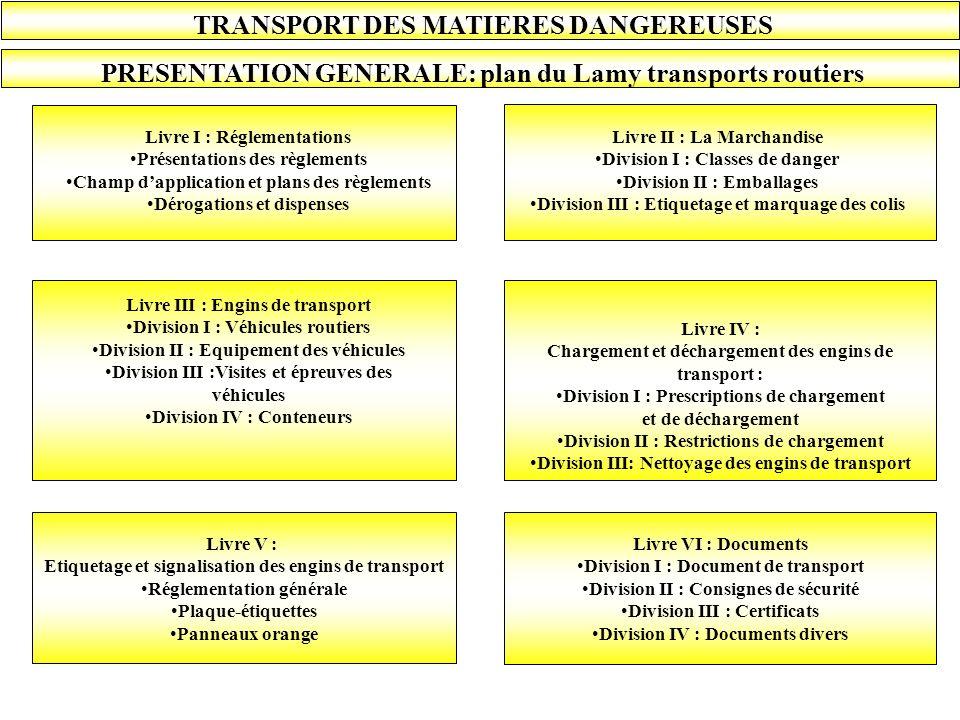 TRANSPORT DES MATIERES DANGEREUSES