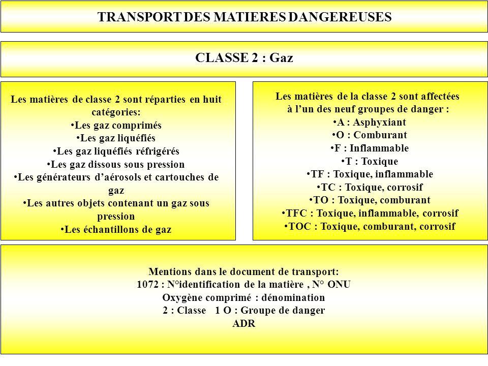 TRANSPORT DES MATIERES DANGEREUSES CLASSE 2 : Gaz