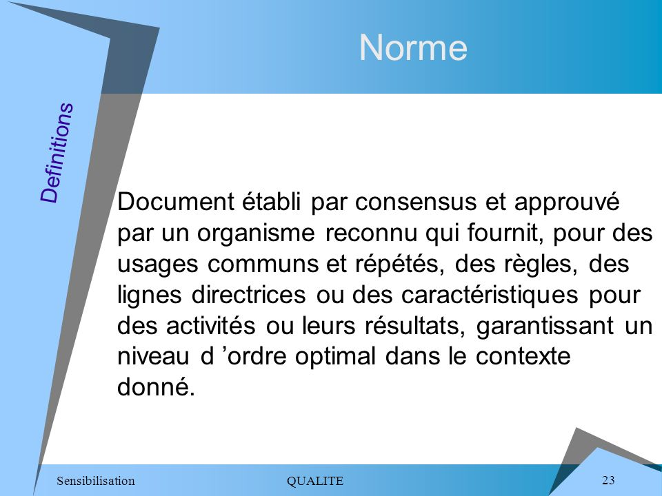 Norme Definitions.