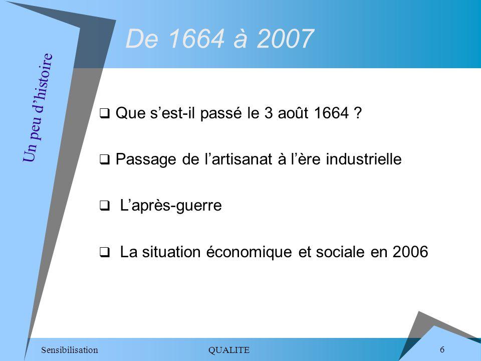 De 1664 à 2007 Un peu d'histoire Que s'est-il passé le 3 août 1664