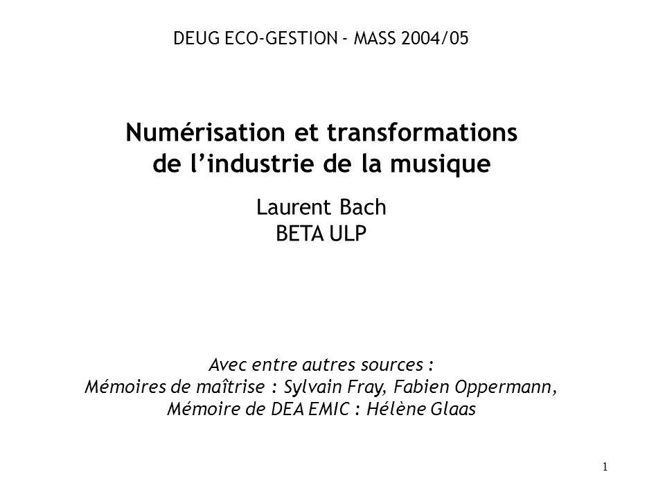 Numérisation et transformations de l'industrie de la musique
