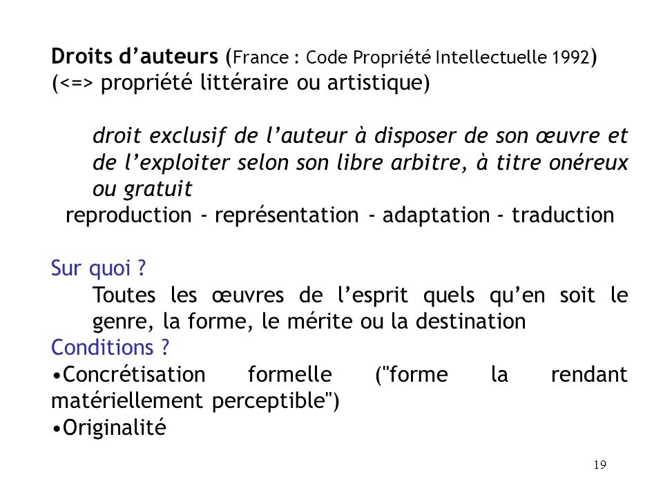 reproduction - représentation - adaptation - traduction