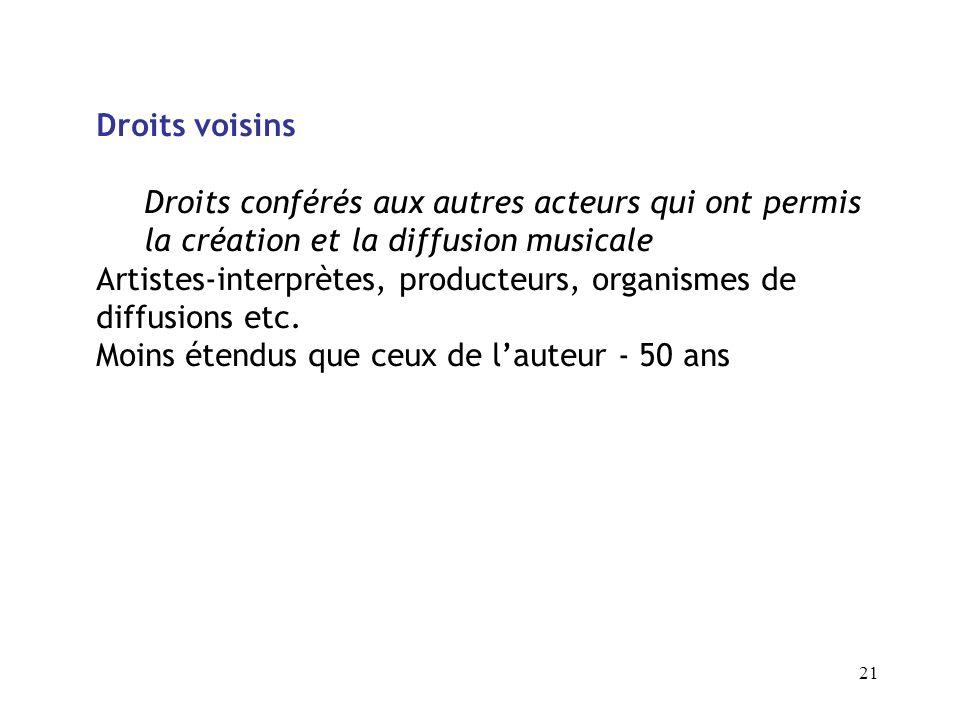 Droits voisins Droits conférés aux autres acteurs qui ont permis la création et la diffusion musicale.