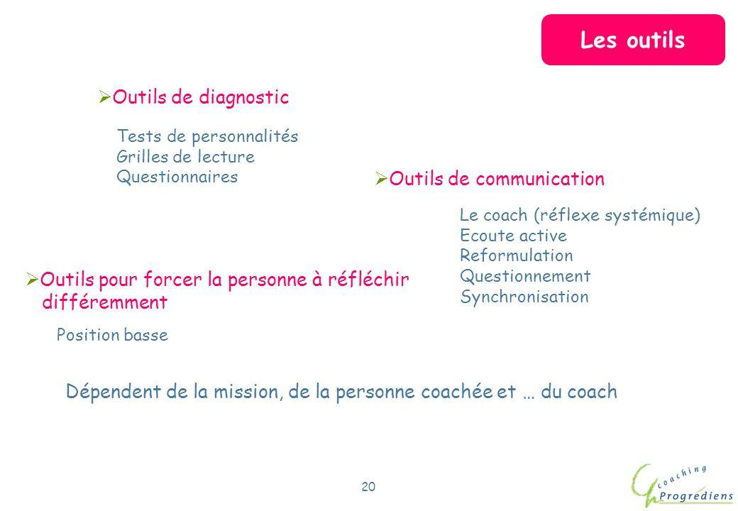 Les outils Outils de diagnostic Outils de communication