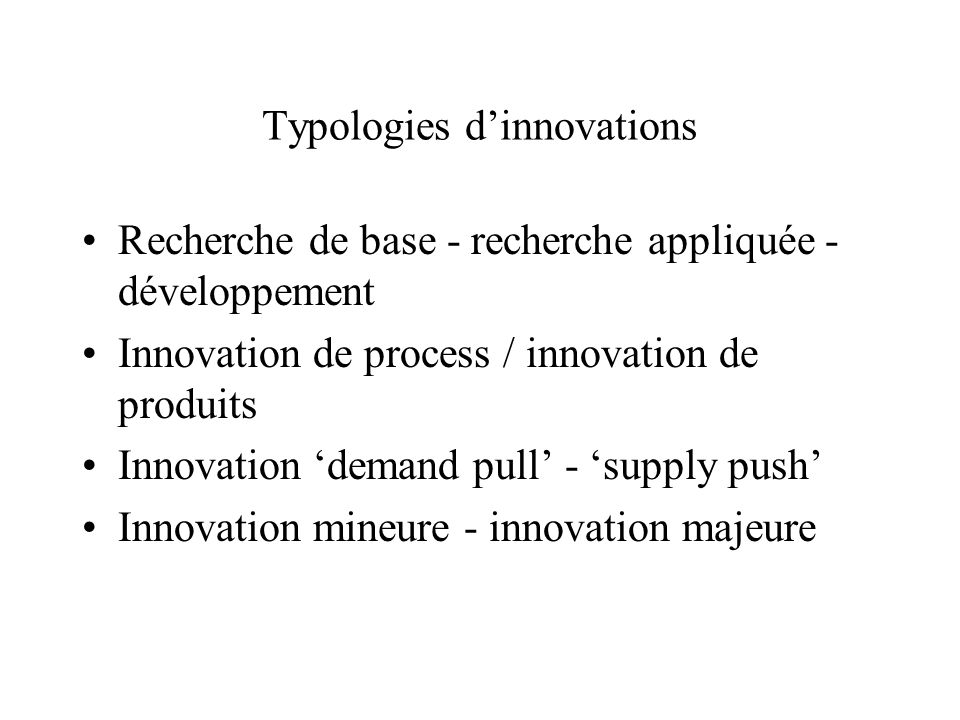 Typologies d'innovations