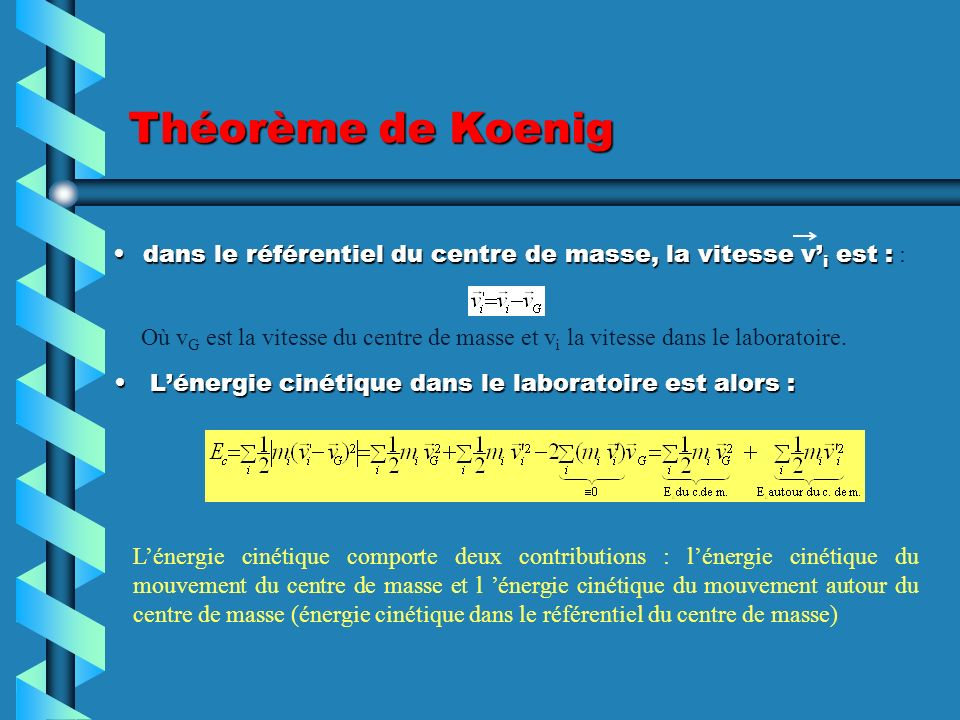 Théorème de Koenig dans le référentiel du centre de masse, la vitesse v'i est : :