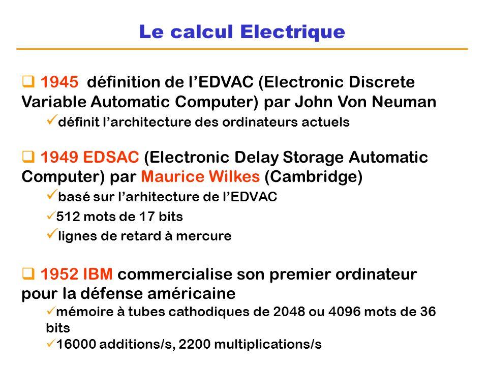 Le calcul Electrique 1945 définition de l'EDVAC (Electronic Discrete Variable Automatic Computer) par John Von Neuman.