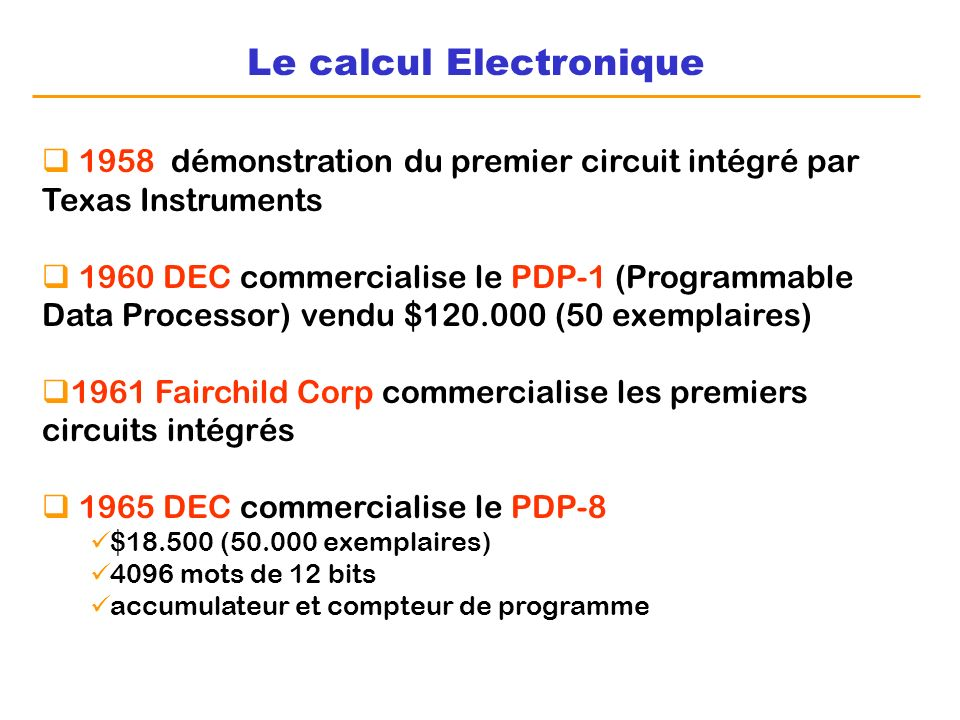 Le calcul Electronique