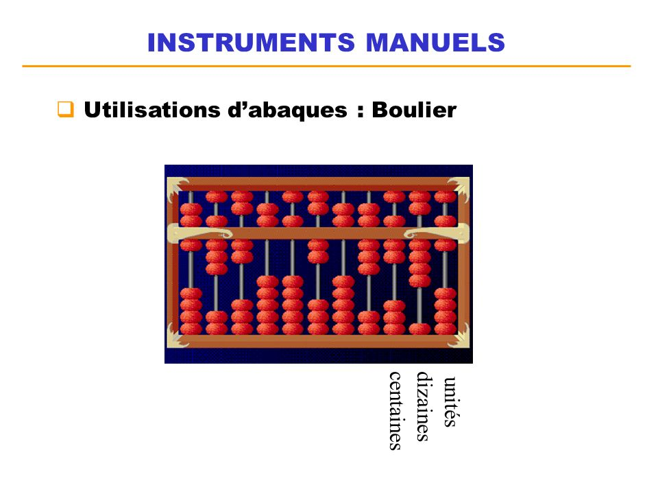 INSTRUMENTS MANUELS Utilisations d'abaques : Boulier centaines