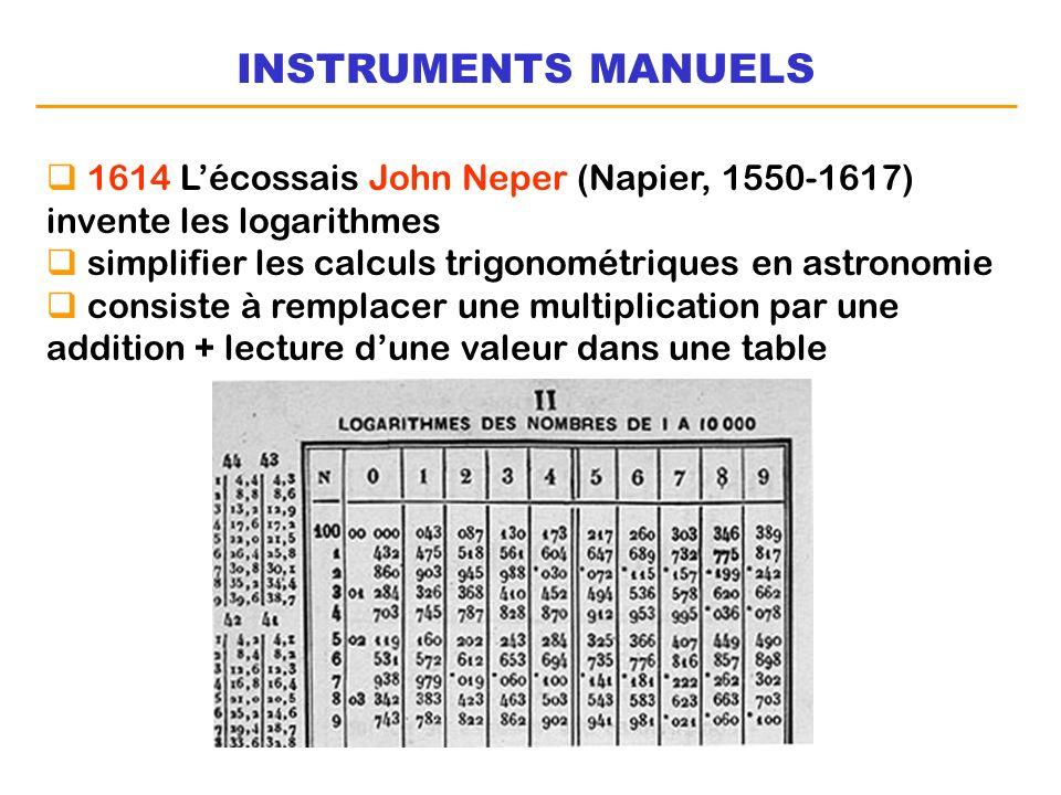 INSTRUMENTS MANUELS 1614 L'écossais John Neper (Napier, 1550-1617) invente les logarithmes. simplifier les calculs trigonométriques en astronomie.