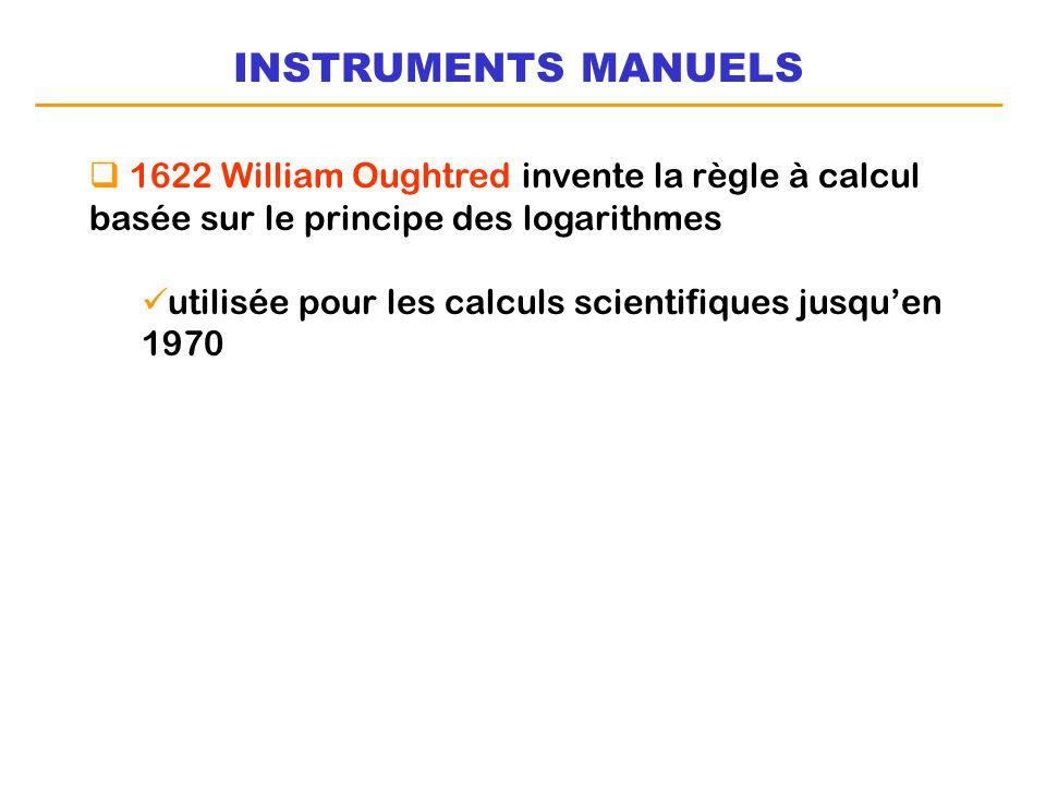 INSTRUMENTS MANUELS1622 William Oughtred invente la règle à calcul basée sur le principe des logarithmes.