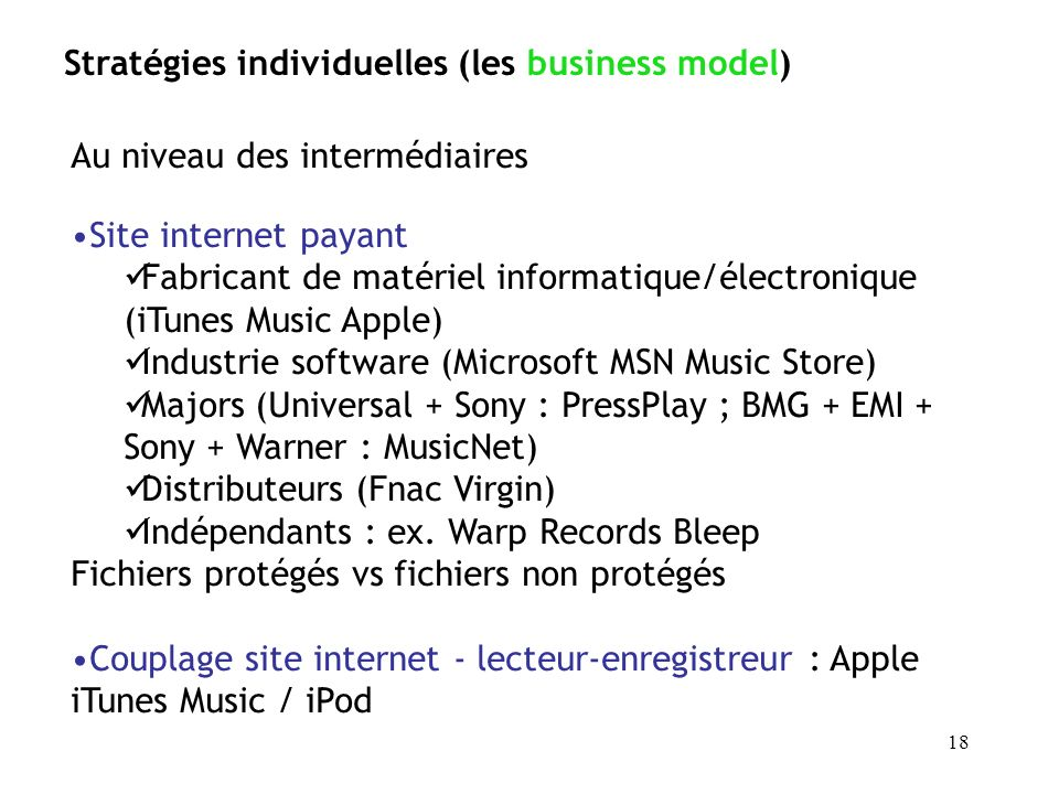 Stratégies individuelles (les business model)
