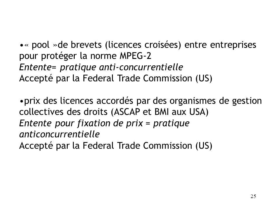 « pool »de brevets (licences croisées) entre entreprises pour protéger la norme MPEG-2