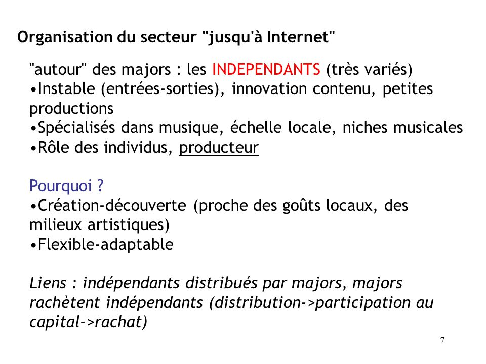 Organisation du secteur jusqu à Internet