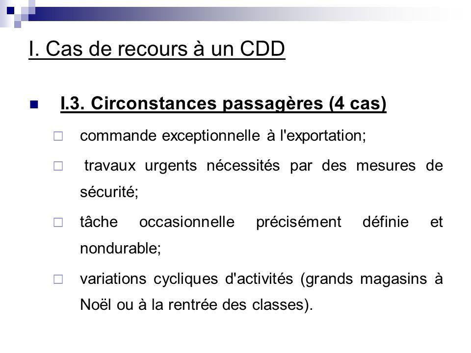 I. Cas de recours à un CDD I.3. Circonstances passagères (4 cas)