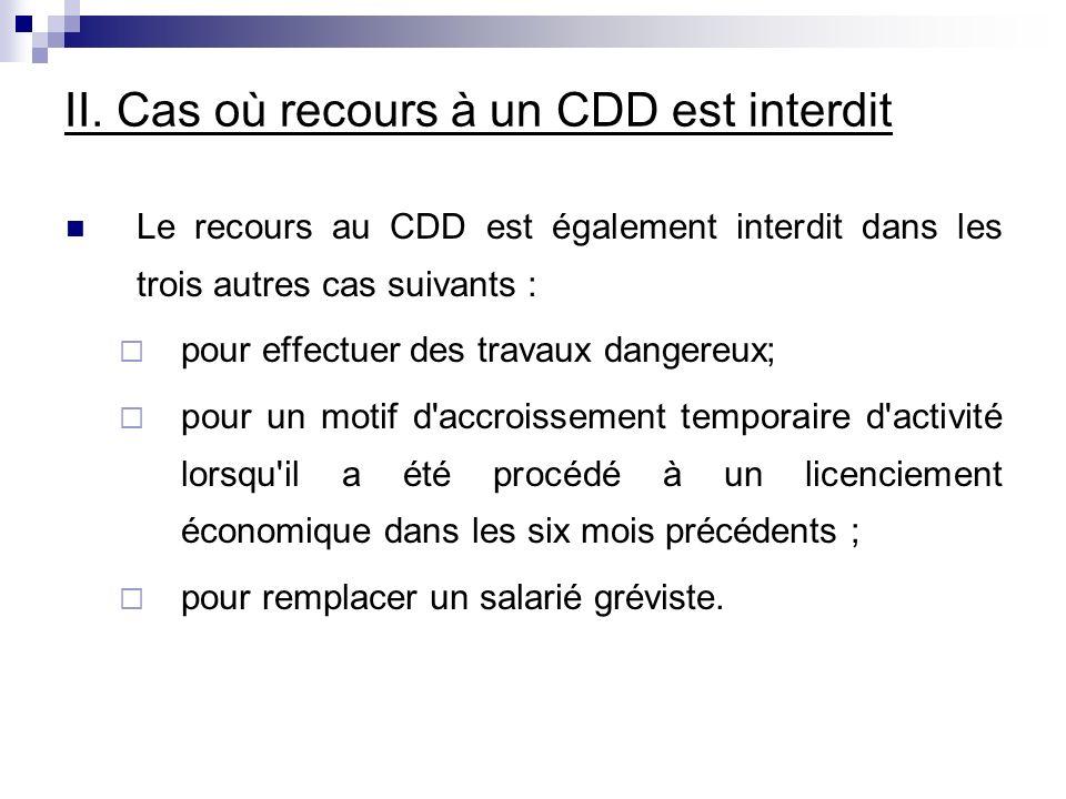 II. Cas où recours à un CDD est interdit