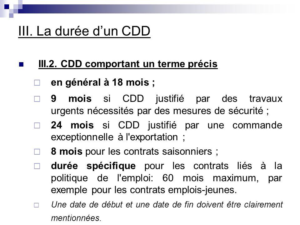 III. La durée d'un CDD III.2. CDD comportant un terme précis
