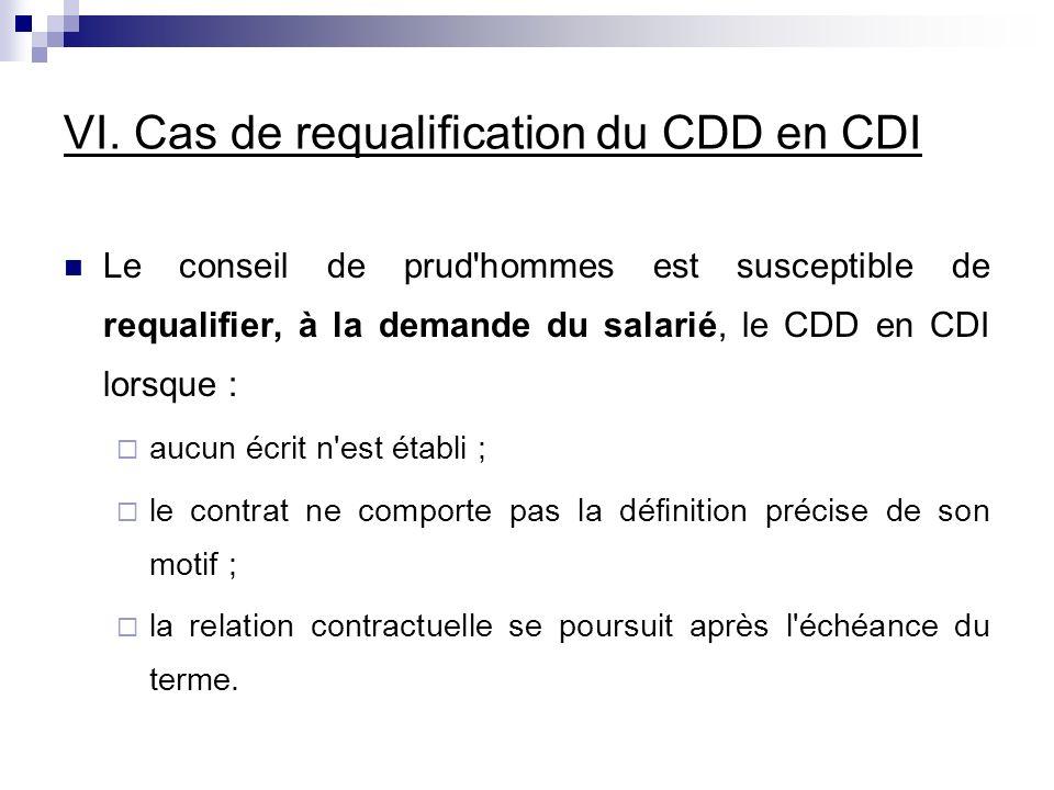 VI. Cas de requalification du CDD en CDI