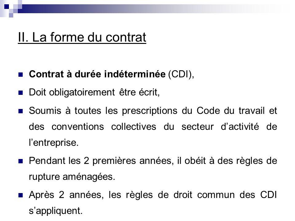 II. La forme du contrat Contrat à durée indéterminée (CDI),