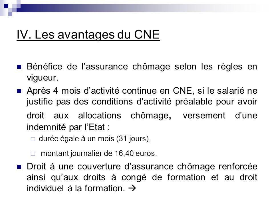 IV. Les avantages du CNE Bénéfice de l'assurance chômage selon les règles en vigueur.
