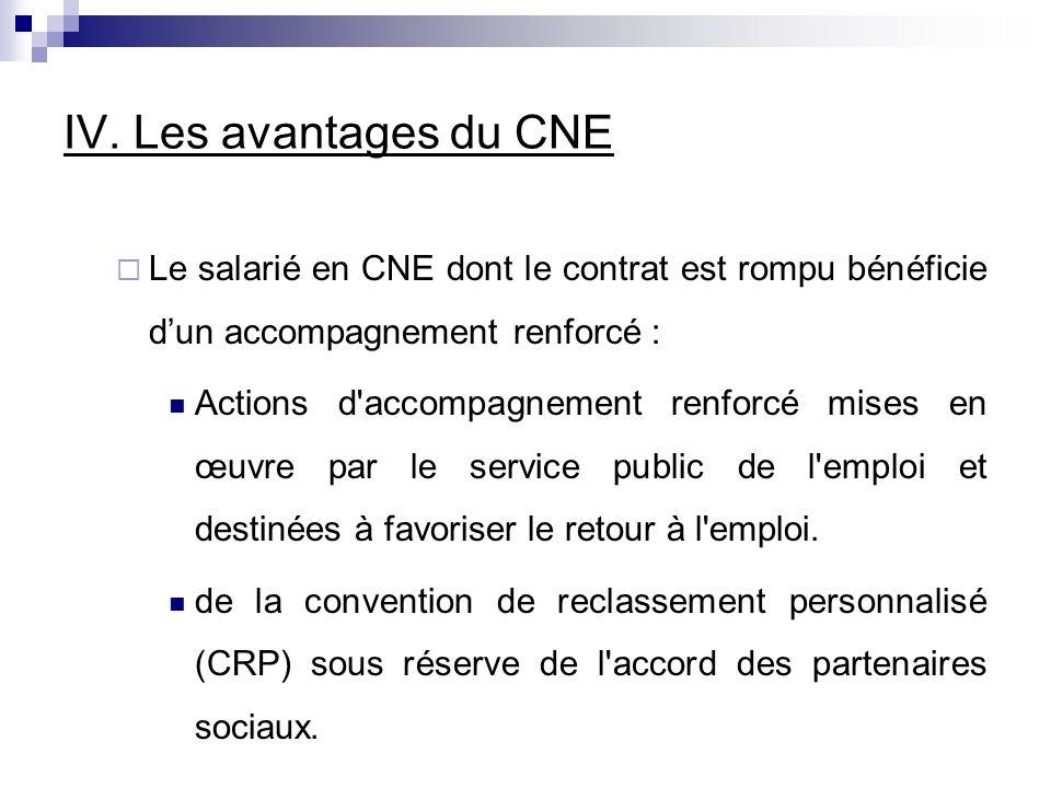 IV. Les avantages du CNE Le salarié en CNE dont le contrat est rompu bénéficie d'un accompagnement renforcé :