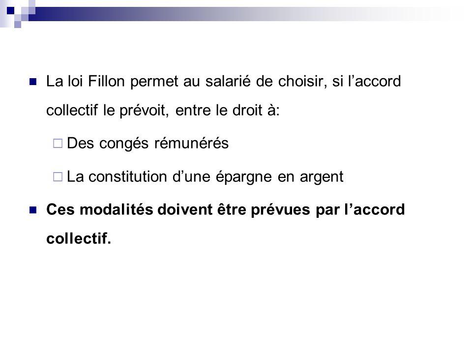 La loi Fillon permet au salarié de choisir, si l'accord collectif le prévoit, entre le droit à: