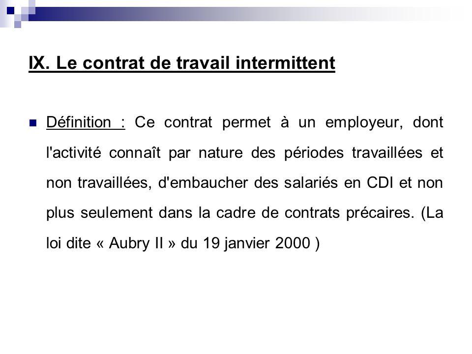 IX. Le contrat de travail intermittent