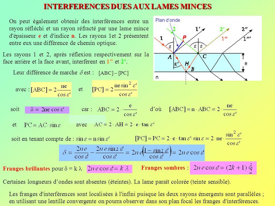 INTERFERENCES DUES AUX LAMES MINCES