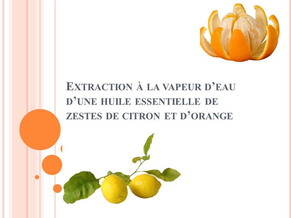 Extraction à la vapeur d'eau d'une huile essentielle de zestes de citron et d'orange