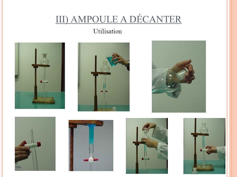 III) AMPOULE A DÉCANTER