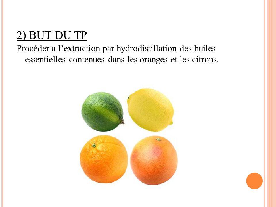 2) BUT DU TP Procéder a l'extraction par hydrodistillation des huiles essentielles contenues dans les oranges et les citrons.
