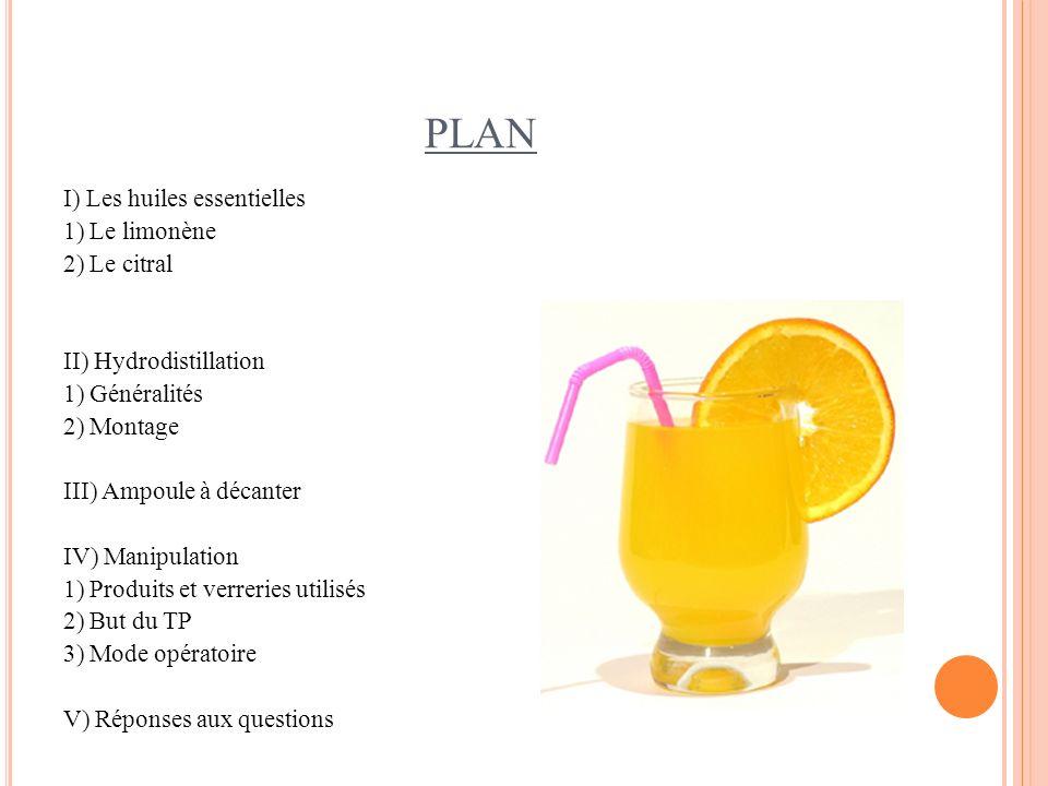 PLAN I) Les huiles essentielles 1) Le limonène 2) Le citral