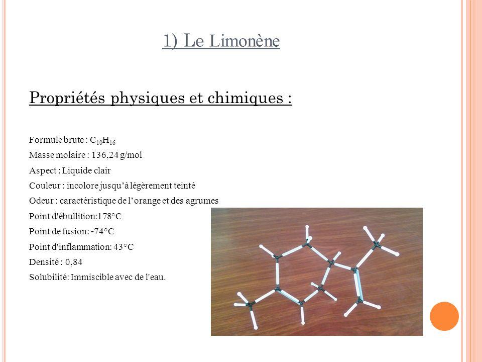 1) Le Limonène Propriétés physiques et chimiques :