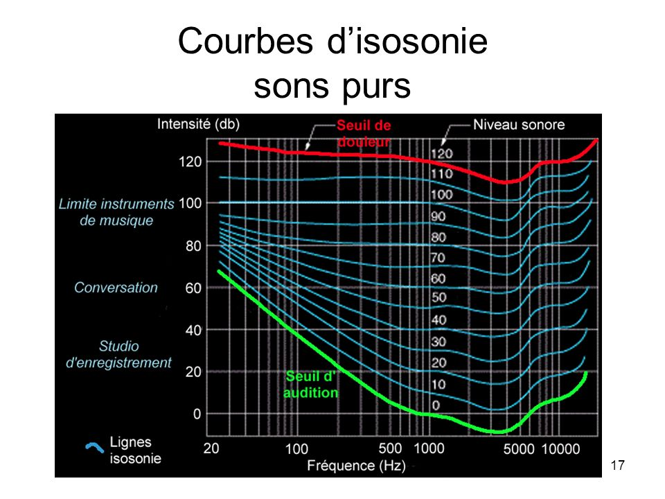 Courbes d'isosonie sons purs
