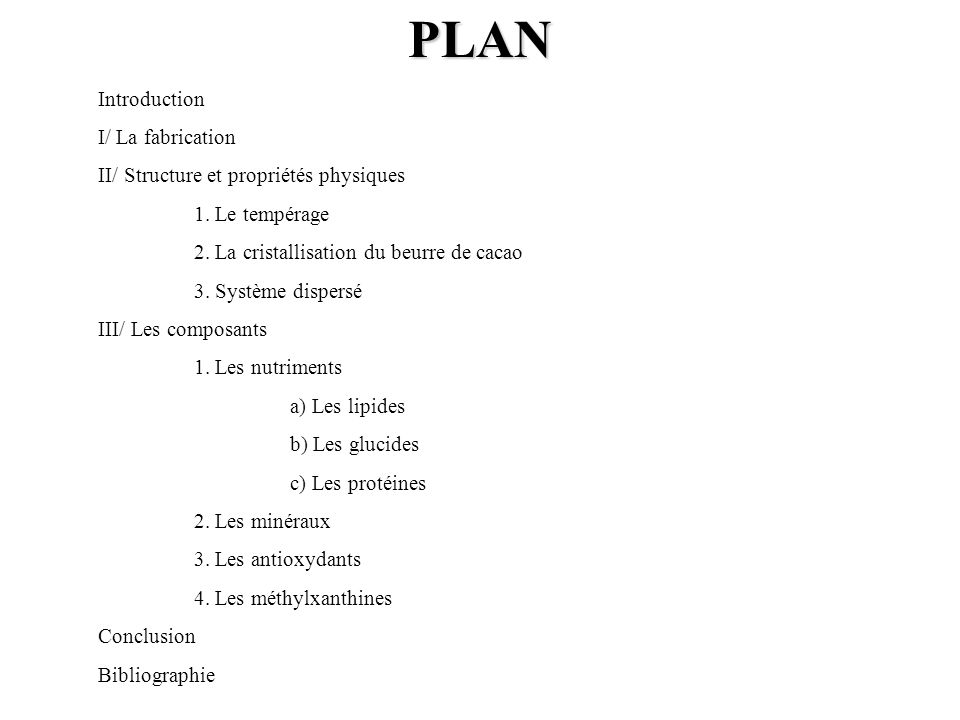 PLAN Introduction I/ La fabrication