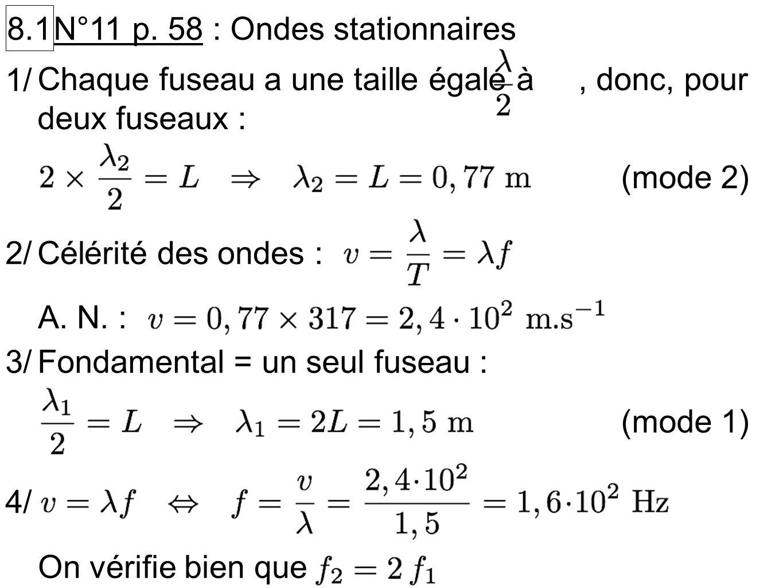 8.1 N°11 p. 58 : Ondes stationnaires. Chaque fuseau a une taille égale à , donc, pour deux fuseaux :