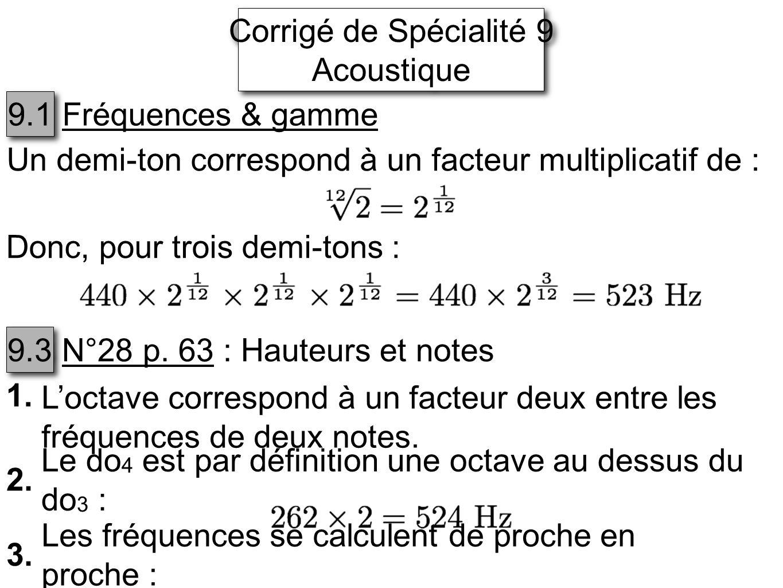 Corrigé de Spécialité 9 Acoustique. 9.1. Fréquences & gamme. Un demi-ton correspond à un facteur multiplicatif de :