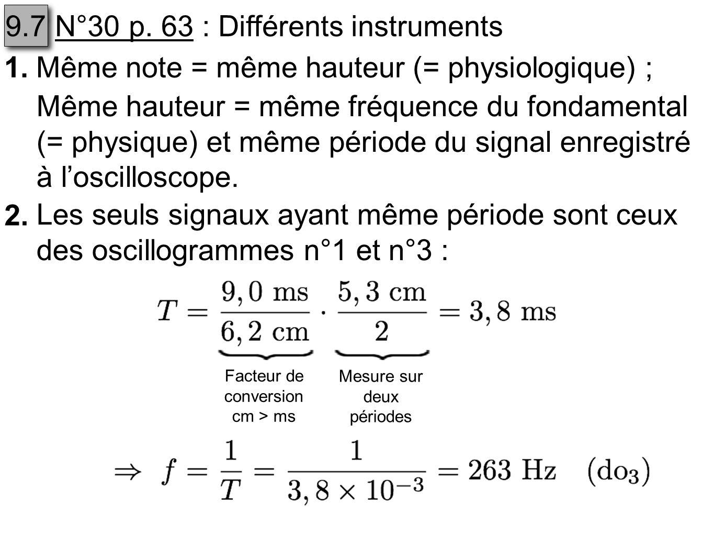 N°30 p. 63 : Différents instruments 1.