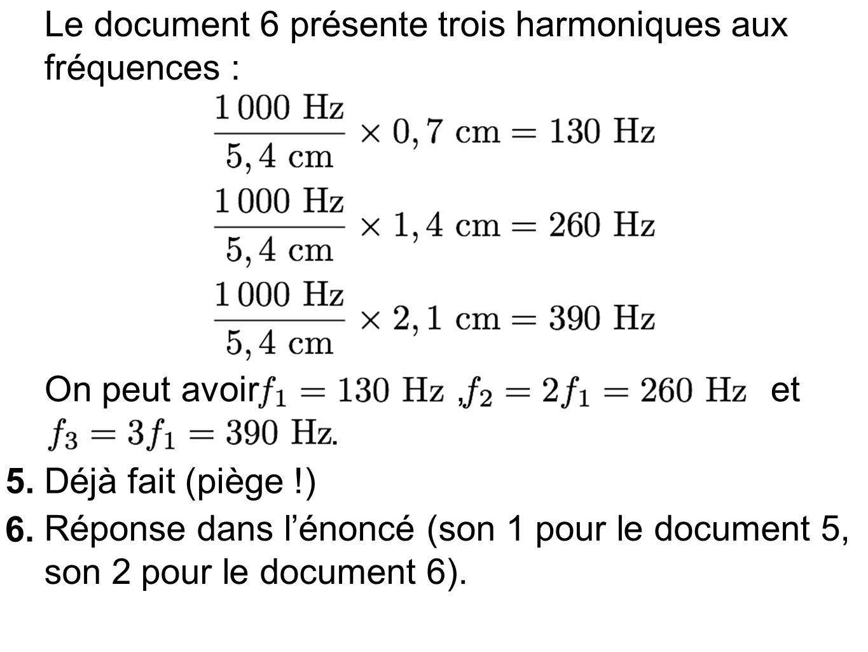 Le document 6 présente trois harmoniques aux fréquences :
