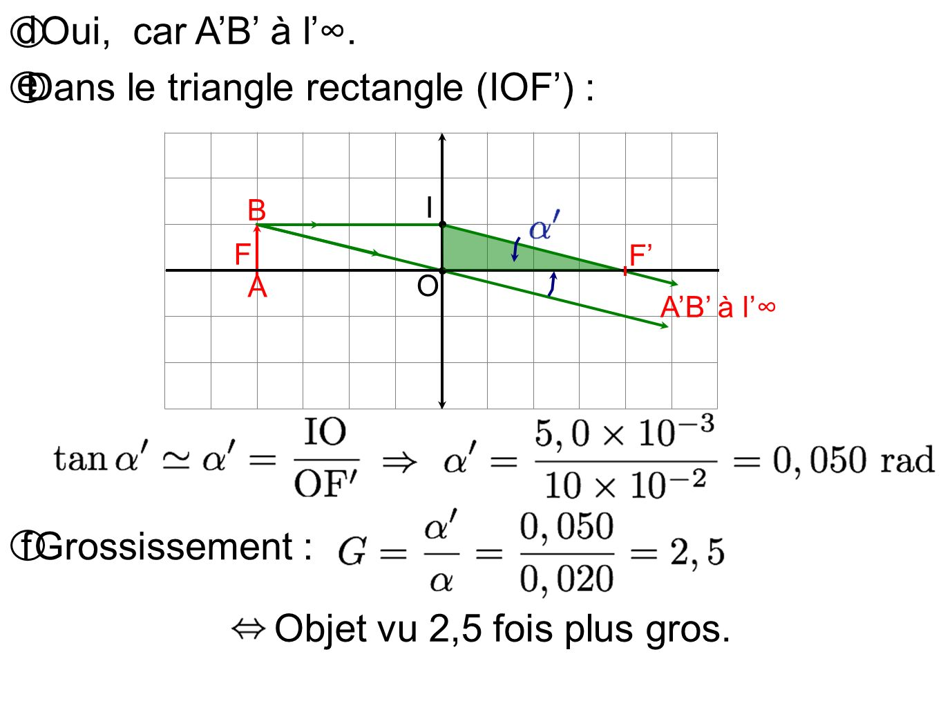 Dans le triangle rectangle (IOF') :
