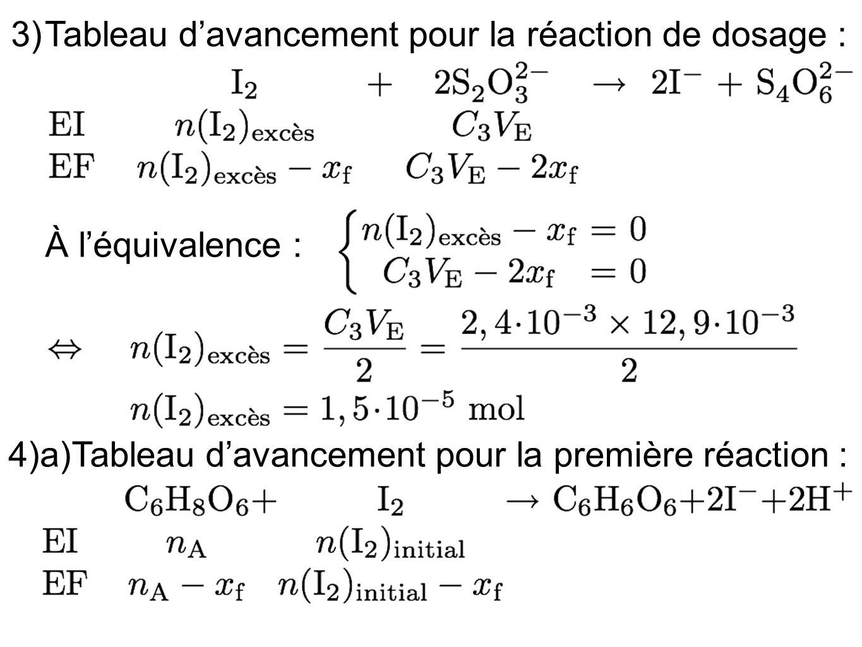 3)Tableau d'avancement pour la réaction de dosage : À l'équivalence : 4)a) Tableau d'avancement pour la première réaction :