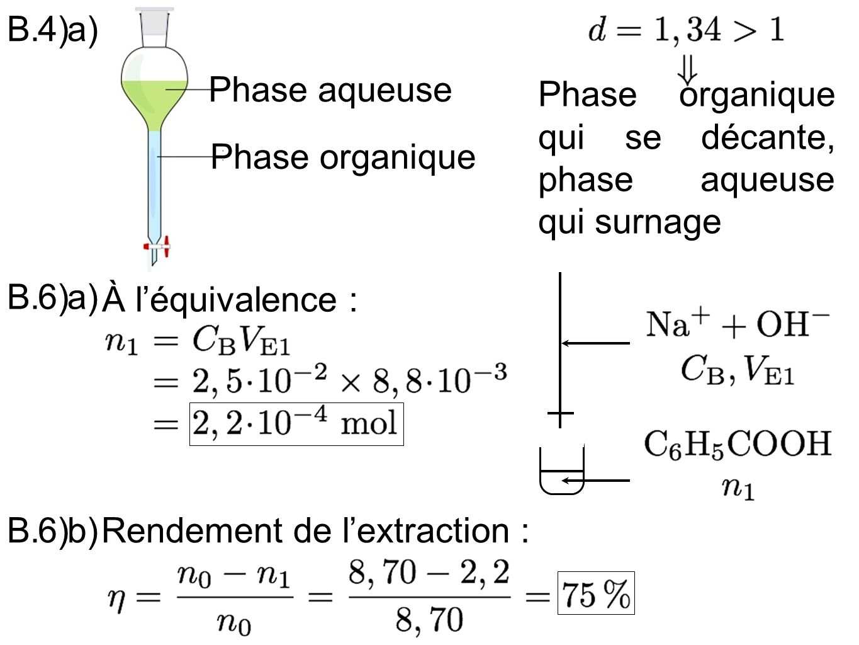 B. 4) a) Phase organique. Phase aqueuse. Phase organique qui se décante, phase aqueuse qui surnage.