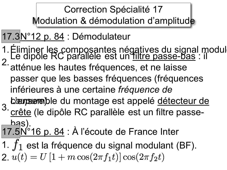 Correction Spécialité 17 Modulation & démodulation d'amplitude
