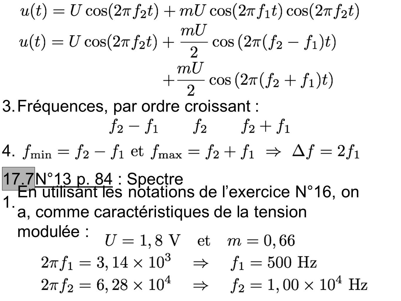 3. Fréquences, par ordre croissant : 4. 17.7. N°13 p. 84 : Spectre. 1.
