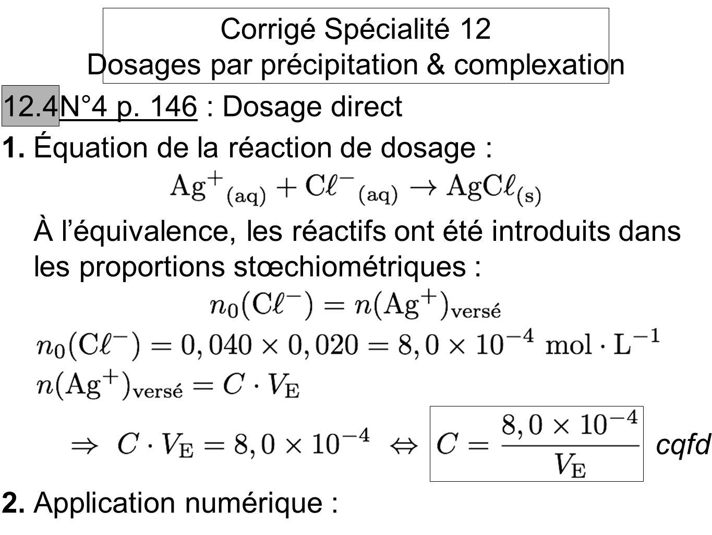 Dosages par précipitation & complexation