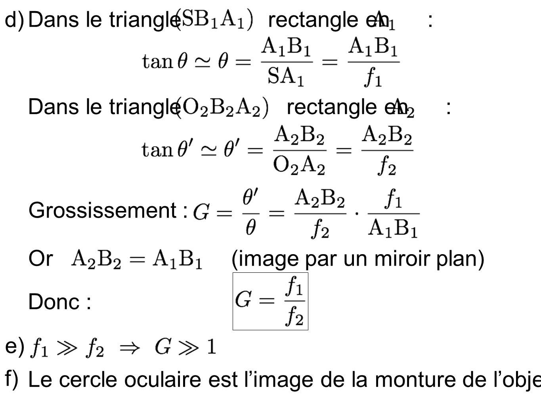d) Dans le triangle rectangle en : Dans le triangle rectangle en :