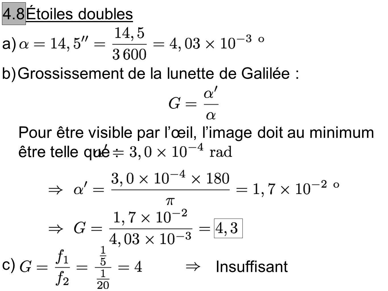 4.8 Étoiles doubles. a) b) Grossissement de la lunette de Galilée : Pour être visible par l'œil, l'image doit au minimum être telle que :